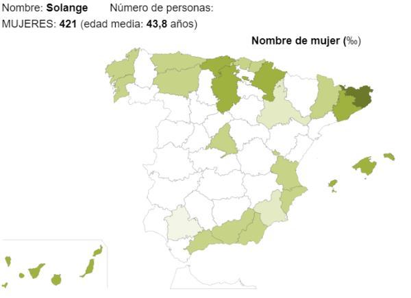 Significado del nombre Solange - Popularidad del nombre Solange