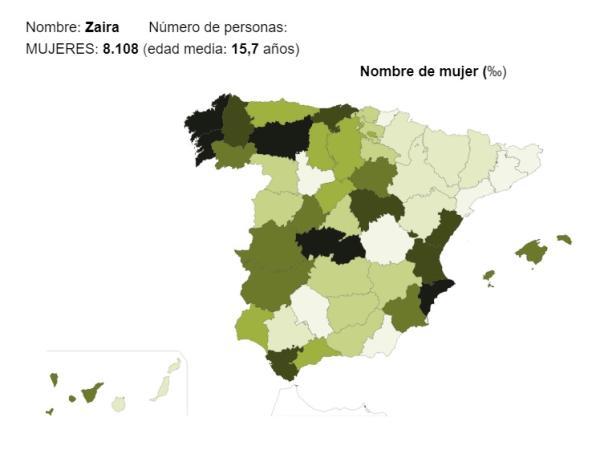 Significado del nombre Zaira - Popularidad del nombre Zaira