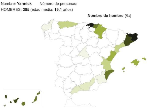 Significado del nombre Yannick - Popularidad del nombre Yannick