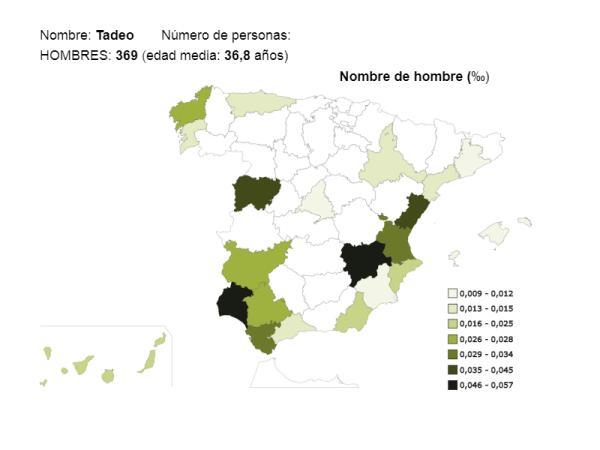 Significado del nombre Tadeo - Popularidad del nombre Tadeo