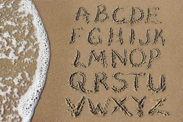 Juegos para aprender las letras - Letras en bandeja de arena