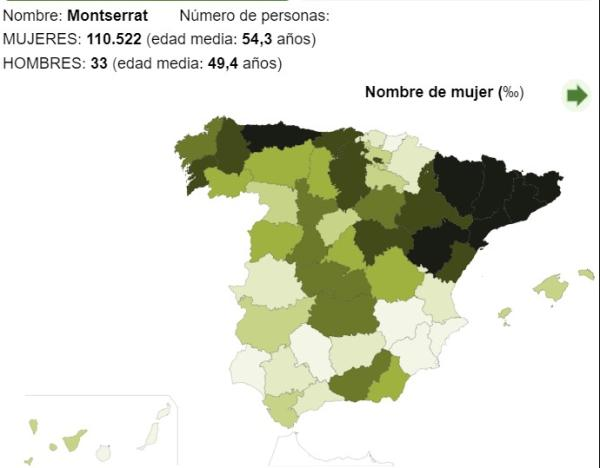 Significado del nombre Montserrat - Popularidad del nombre Montserrat